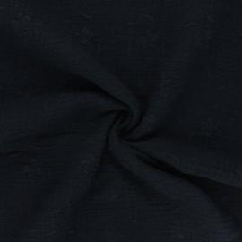 Tissu double gaze de coton brodé Nina - noir x 10cm