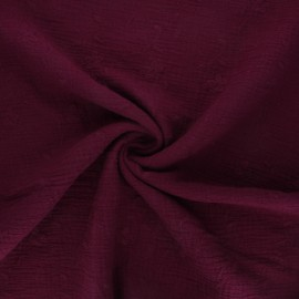 Embroidered double gauze cotton fabric - wine Nina x 10cm