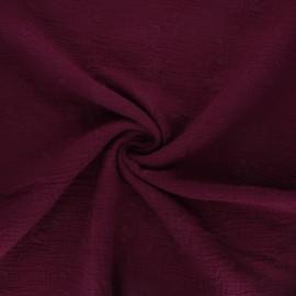 Tissu double gaze de coton brodé Nina - lie de vin x 10cm
