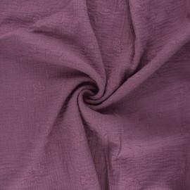 Tissu double gaze de coton brodé Nina - figue x 10cm