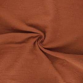Embroidered double gauze cotton fabric - rust Nina x 10cm