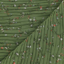 Pleated polyester fabric - green Galerie Vivienne x 10cm