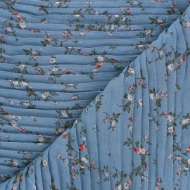 Pleated polyester fabric - blue Galerie Vivienne x 10cm