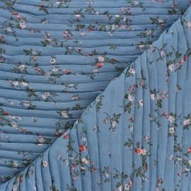 Tissu polyester plissé Galerie Vivienne - bleu x 50cm