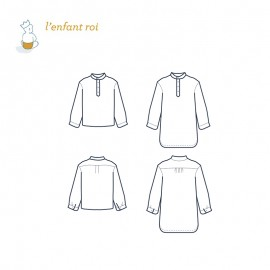 Alix 2 Shirt/dress L'Enfant Roi sewing pattern - From 2 to 14 years old