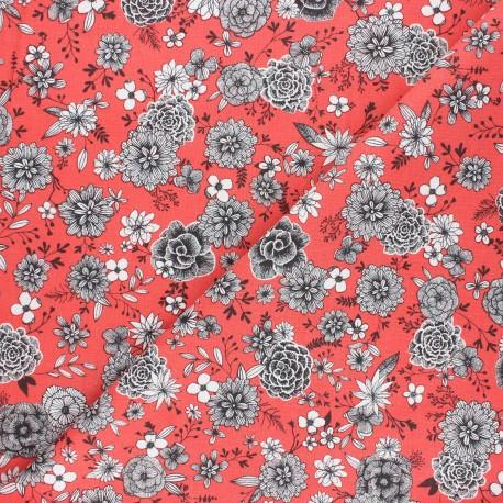 Cretonne cotton Fabric - coral Floral day x 10cm