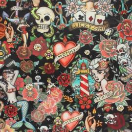 Tissu velours ras Hipster tattoo - noir x 10cm