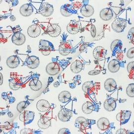 Tissu coton cretonne Biclycle trip - écru x 10cm