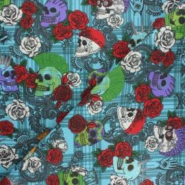 Tissu coton cretonne Punky vibe - bleu x 10cm