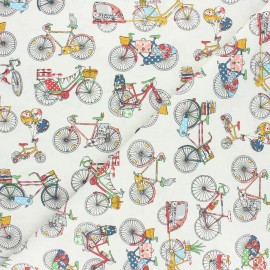 Cretonne cotton Fabric - multicolor Bicycle trip x 10cm