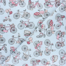 Cretonne cotton Fabric - blue Bicycle trip x 10cm