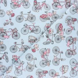 Tissu coton cretonne Biclycle trip - bleu x 10cm