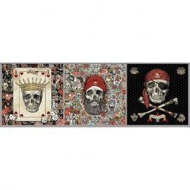 Short velvet panel fabric - multicolor Old skull x 46cm