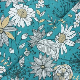 Tissu toile de coton Sweet dandelion - eucalyptus x 10cm