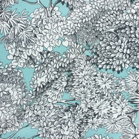 Canvas cotton fabric - eucalyptus Umbrella trees x 10cm