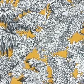 Tissu toile de coton Umbrella trees - jaune moutarde x 10cm