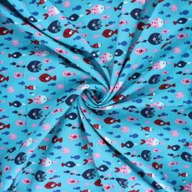 Poplin cotton fabric - lagoon blue Flowery fish x 10cm