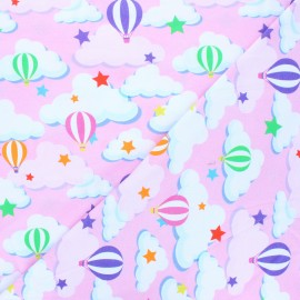 Printed Jersey fabric - pink Sky balloon x 10cm
