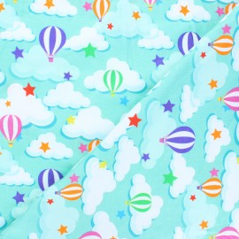 Printed Jersey fabric - mint Sky balloon x 10cm