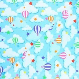 Printed Jersey fabric - blue Sky balloon x 10cm
