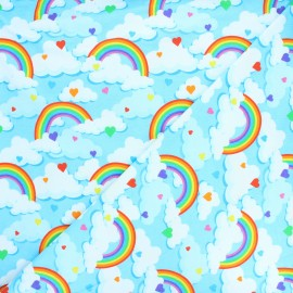 Printed Jersey fabric - blue Day dream x 10cm