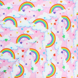 Printed Jersey fabric - pink Day dream x 10cm