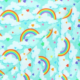 Printed Jersey fabric - mint Day dream x 10cm