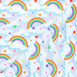 Printed Jersey fabric - light grey Day dream x 10cm