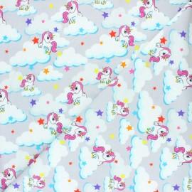 Printed Jersey fabric - light grey Unicorn dream x 10cm