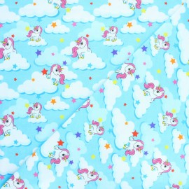 Printed Jersey fabric - blue Unicorn dream x 10cm