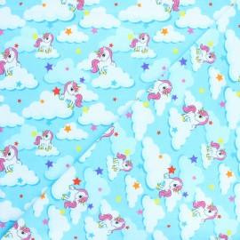 Tissu jersey Unicorn dream - bleu x 10cm