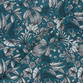 Cretonne cotton fabric - peacock blue Java x 10cm