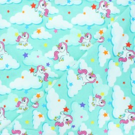 Printed Jersey fabric - mint Unicorn dream x 10cm