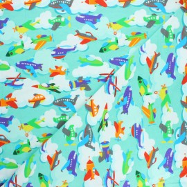 Printed Jersey fabric - mint Welcome on board x 10cm