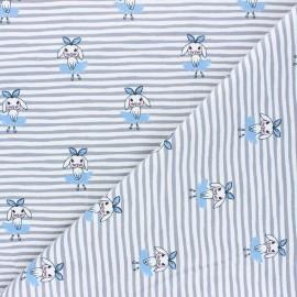 Printed Jersey fabric - blue Shy dancer x 10cm