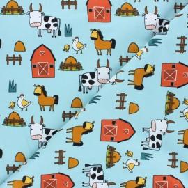 Printed Jersey fabric - light blue Journée à la ferme x 10cm