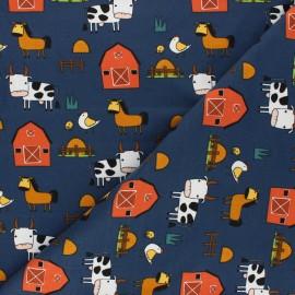 Tissu jersey Journée à la ferme - bleu nuit x 10cm