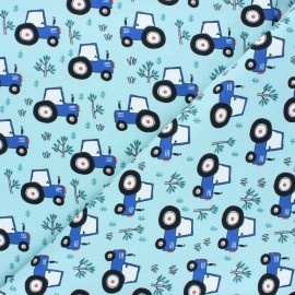 Printed Jersey fabric - light blue Tractor's day x 10cm