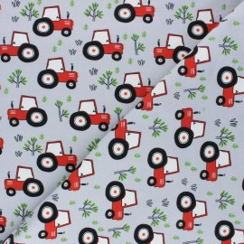 Printed Jersey fabric - light grey Tractor's day x 10cm