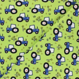 Printed Jersey fabric - lime Tractor's day x 10cm
