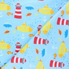 Printed Jersey fabric - light blue Submarine life x 10cm