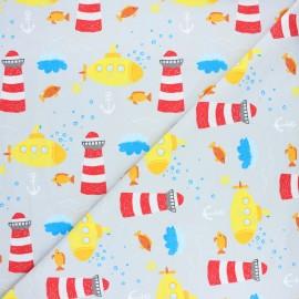 Printed Jersey fabric - light grey Submarine life x 10cm