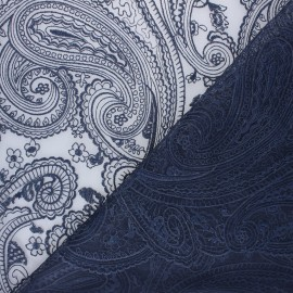 Embroidered tulle fabric - night blue Sabah x 10cm