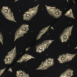 Printed Jersey fabric - black/gold Passion plume x 10cm
