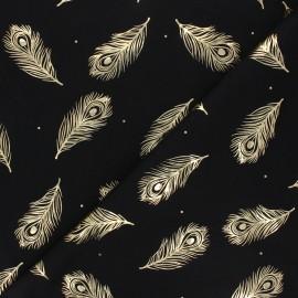 Tissu jersey Passion plume - noir/doré x 10cm