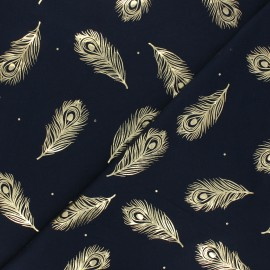 Printed Jersey fabric - night blue/gold Passion plume x 10cm