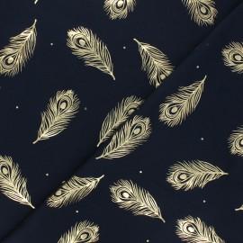 Tissu jersey Passion plume - bleu nuit/doré x 10cm