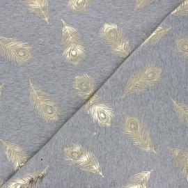Tissu jersey Passion plume - gris clair/doré x 10cm