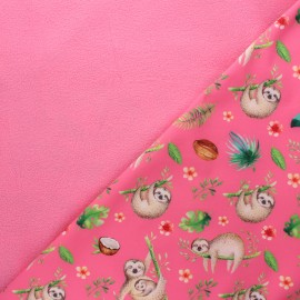 Softshell fabric - pink Sloth dream x 10cm