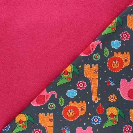 Softshell fabric - mouse grey Savannah love x 10cm